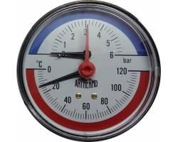 Термоманометр ARTHERMO аксиальный (Ø80 мм, 0-6 бар, 0-120°С)