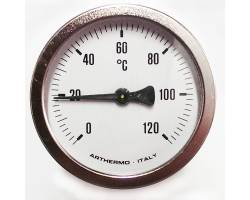 Термометр ARTHERMO аксиальный (Ø63 мм, гильза 100 мм, 0-120°С)