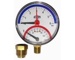 Термоманометр ARTHERMO радиальный (Ø80 мм, 0-6 бар, 0-120°С)