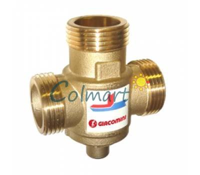 """Антиконденсатный термостатический смесительный клапан, для твердотопливных котлов (трехходовой клапан) Giacomini R157AY054 1"""" 70°C DN25"""