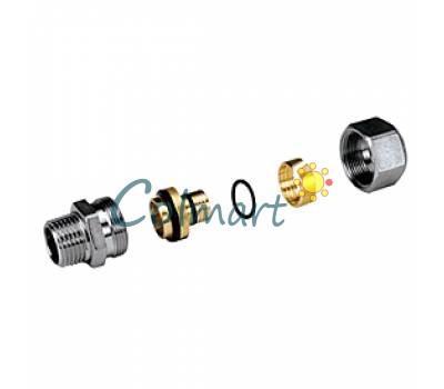 """Прямой фитинг с наружной резьбой (для многослойной и полимерной трубы) Giacomini R187MX048 1/2""""x(16x2)"""