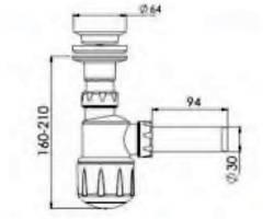 Сифон для умывальника, выпуск 64 мм, выход 32 мм NOVA plastik 1012