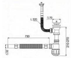 Сифон для мойки с переливом, 70 мм Ø40/50 NOVA plastik 1033