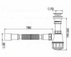 Сифон для умывальника с отводом для стиральной машины, выпуск 70 мм разборной, гофра Ø40/50 NOVA plastik 1054