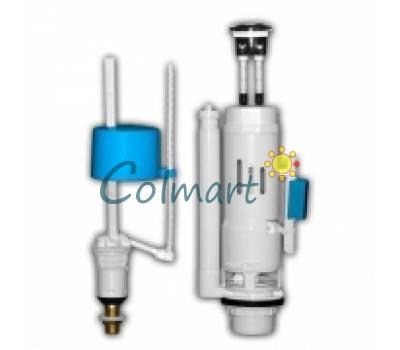 Двухуровневая сливная арматура 3/6 л. для бачка унитаза с клапаном нижней подачи NOVA plastik 4130