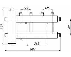 Коллектор с гидрострелкой Termojet СК-222.125 (2+1, в теплоизоляции)