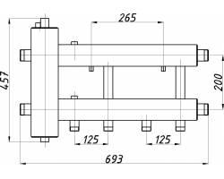 Коллектор с гидрострелкой Termojet СК-232.125 (2+1, в теплоизоляции)