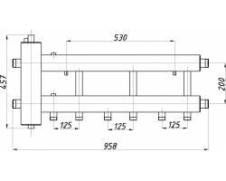 Коллектор с гидрострелкой Termojet СК-332.125 (3+1, в теплоизоляции)