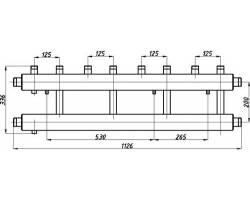 Коллектор Termojet СК-412.125 (выход вверх, 4+1)