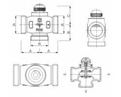 """Трехходовой термостатический клапан HERZ CALIS-TS-RD 1"""" распределение потоков до 100% (1776140)"""