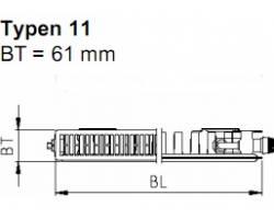 Стальной панельный радиатор KERMI FTV (FKV) 11 300*400